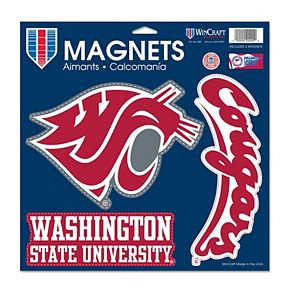 "WinCraft Washington State Cougars 11"" x 11"" 3-Pack Car Magnet Set"