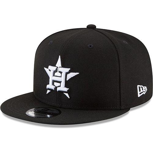 Men's New Era Black Houston Astros Black & White 9FIFTY Snapback Hat