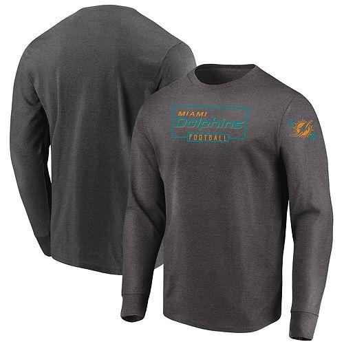 Men's Majestic Heathered Charcoal Miami Dolphins Big & Tall Kick Return Long Sleeve T-Shirt