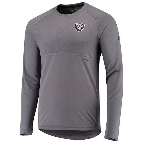 Men's Under Armour Charcoal Oakland Raiders Combine Authentic Novelty Jacquard Threadborne Long Sleeve Performance T-Shirt