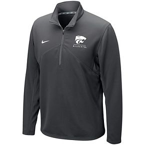 Men's Nike Anthracite Kansas State Wildcats Logo and Mascot Name Training Quarter-Zip Performance Jacket