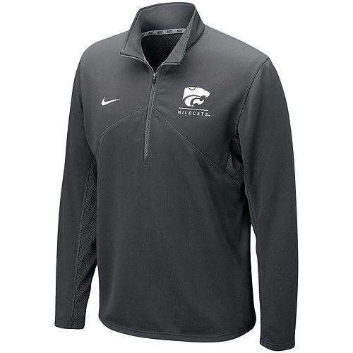 Men's Nike Anthracite Kansas State Wildcats Logo and Mascot Name Training Quarter-Zip Performance Jacket