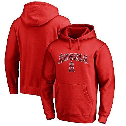 Men's Fanatics Branded Red Los Angeles Angels Team Lockup Pullover Hoodie