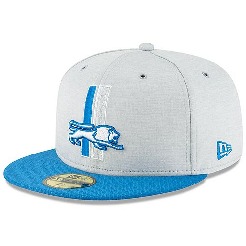 Men's New Era Heather Gray/Blue Detroit Lions 2018 NFL Sideline Home Historic 59FIFTY Fitted Hat
