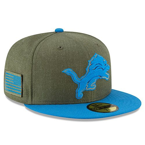 Men's New Era Olive/Blue Detroit Lions 2018 Salute to Service Sideline 59FIFTY Fitted Hat