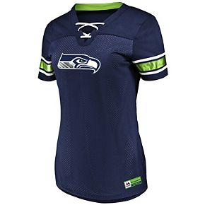Women's Majestic Navy Seattle Seahawks Game Day Draft Me V-Neck T-Shirt
