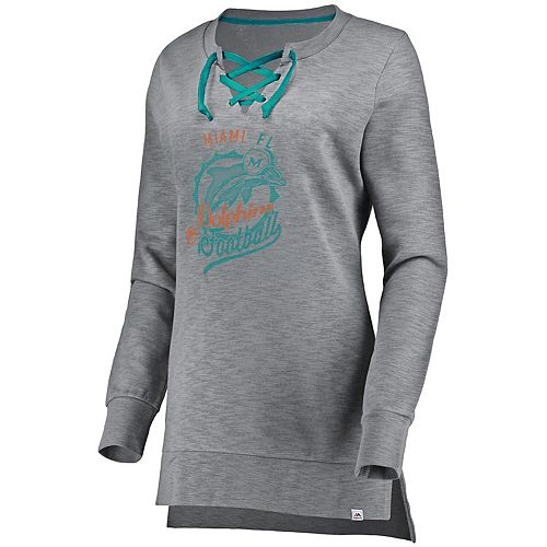 Women's Majestic Heathered Gray Miami Dolphins Historic Hyper Lace-Up Tunic Sweatshirt
