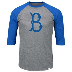 Men's Majestic Heathered Gray/Royal Los Angeles Dodgers Big & Tall Cooperstown Collection Raglan 3/4-Sleeve T-Shirt