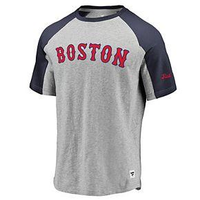 Men's Fanatics Branded Heathered Gray/Navy Boston Red Sox Heritage Crew Neck Raglan T-Shirt