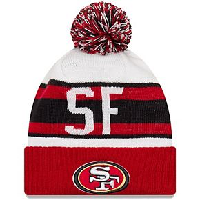 Youth New Era White/Scarlet San Francisco 49ers Retro Cuffed Knit Hat With Pom