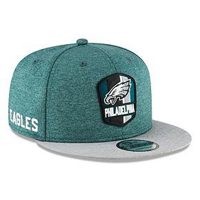 Men's New Era Midnight Green/Heather Gray Philadelphia Eagles 2018 NFL Sideline Road Official 9FIFTY Snapback Adjustable Hat