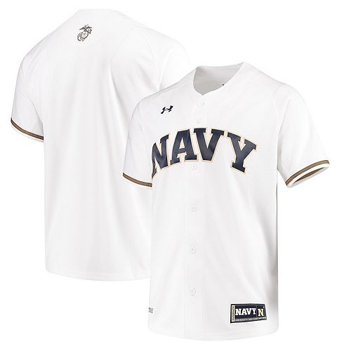 Men's Under Armour White Navy Midshipmen Performance Replica Baseball Jersey