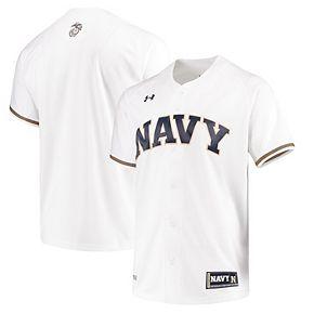 Men's Under Armour White Navy Midshipmen Performance Replica Baseball Jersey