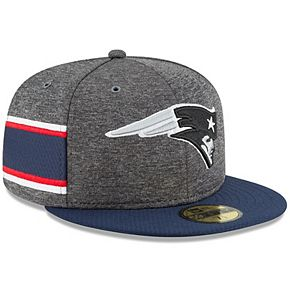 Men's New Era Heather Gray/Navy New England Patriots 2018 NFL Sideline Home Graphite 59FIFTY Fitted Hat