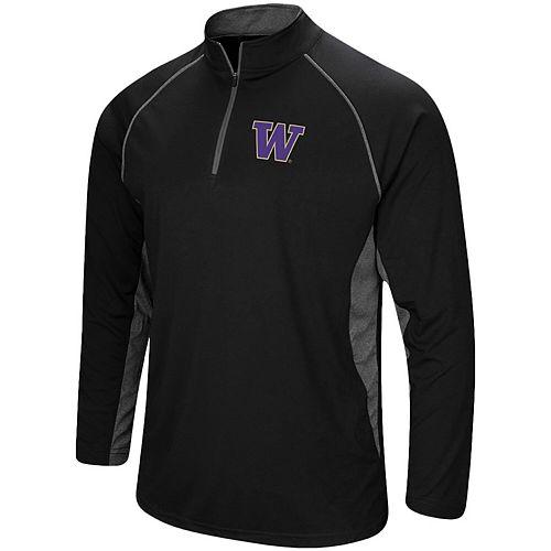 Men's Colosseum Black Washington Huskies Quarter-Zip Windshirt
