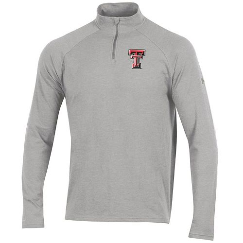 Men's Under Armour Heathered Gray Texas Tech Red Raiders Charged Cotton Quarter-Zip Jacket