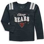 Girls Youth New Era Navy Chicago Bears Starring Role Long Sleeve Tri-Blend V-Neck T-Shirt