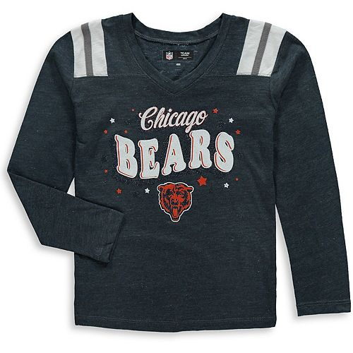 Girls Youth New Era Navy Chicago Bears Starring Role Long Sleeve Tri-Blend V-Neck T-Shirt