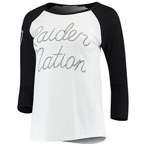 Women's Junk Food White/Black Oakland Raiders Retro Script Raglan 3/4-Sleeve T-Shirt