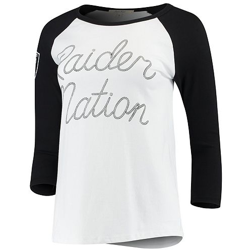 Women's Junk Food White/Black Oakland Raiders Retro Script Raglan 3/4-Sleeve T-Shirt