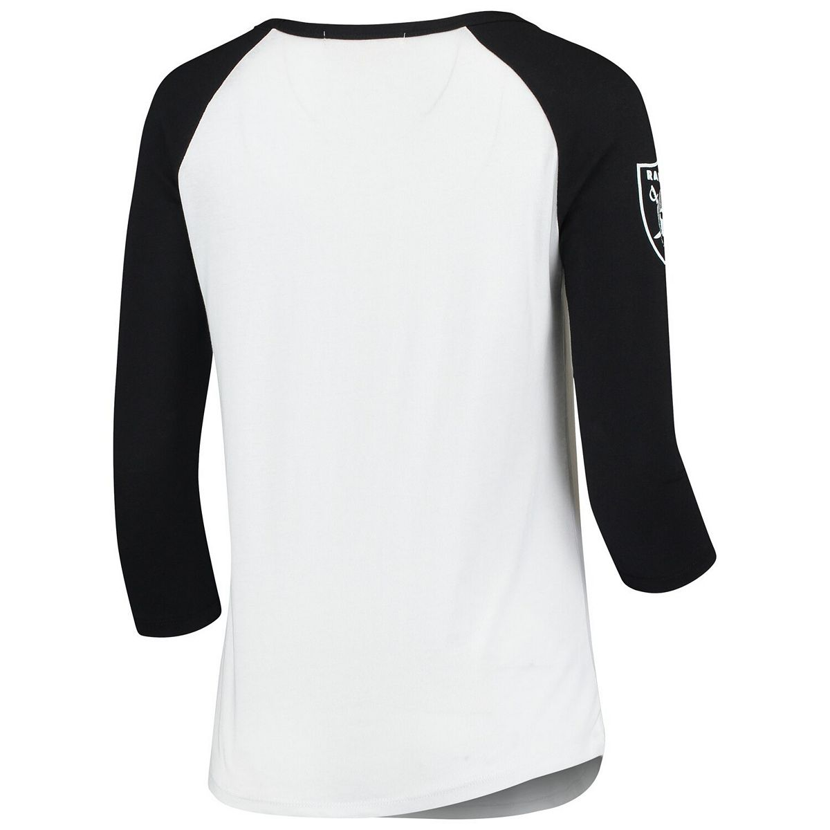 Women's Junk Food White/Black Oakland Raiders Retro Script Raglan 3/4-Sleeve T-Shirt fzybV