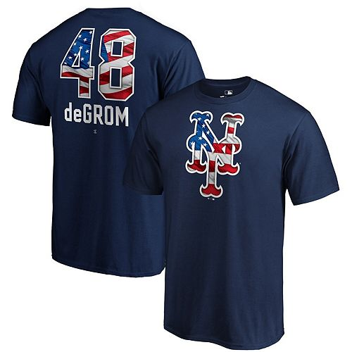 Men's Fanatics Branded Jacob deGrom Navy New York Mets 2019 Stars & Stripes Banner Wave Name & Number T-Shirt