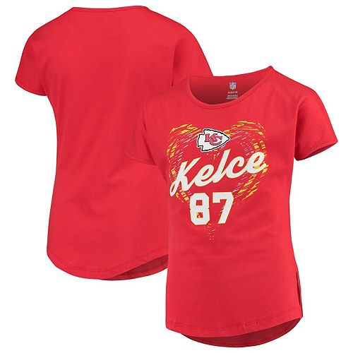 Girls Youth Travis Kelce Red Kansas City Chiefs Sonic Heart Player Name & Number Dolman T-Shirt