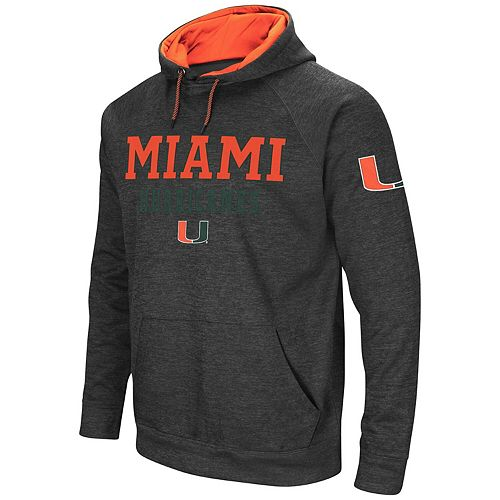 Men's Colosseum Heathered Charcoal Miami Hurricanes Performance Pullover Hoodie