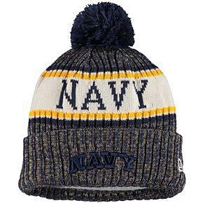 Men's New Era Navy Navy Midshipmen Team Logo Sport Cuffed Knit Hat with Pom