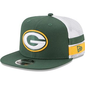 Men's New Era Green/White Green Bay Packers Striped Side Lineup 9FIFTY Adjustable Snapback Hat