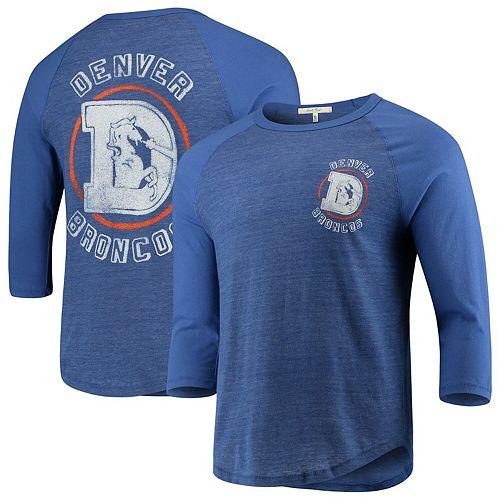 Men's Junk Food Heathered Royal/Royal Denver Broncos Contrast 3/4-Sleeve Raglan Tri-Blend T-Shirt