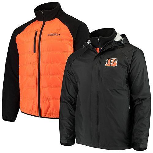 Men's G-III Sports by Carl Banks Black/Orange Cincinnati Bengals Reinforce 3 in 1 Systems Jacket