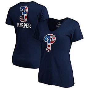 Women's Fanatics Branded Bryce Harper Navy Philadelphia Phillies 2019 Stars & Stripes Banner Wave Name & Number V-Neck T-Shirt