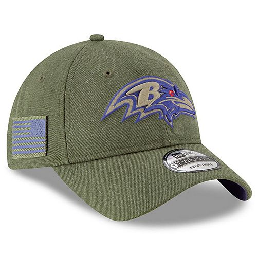 Youth New Era Olive Baltimore Ravens 2018 Salute to Service Sideline 9TWENTY Adjustable Hat