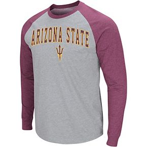 Men's Colosseum Heathered Gray Arizona State Sun Devils Olympus III Raglan Long Sleeve T-Shirt