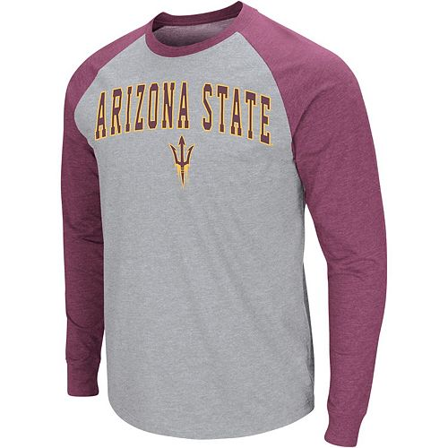 Men's Colosseum Heathered Gray Arizona State Sun Devils Olympus III Raglan Long Sleeve T-Shirt