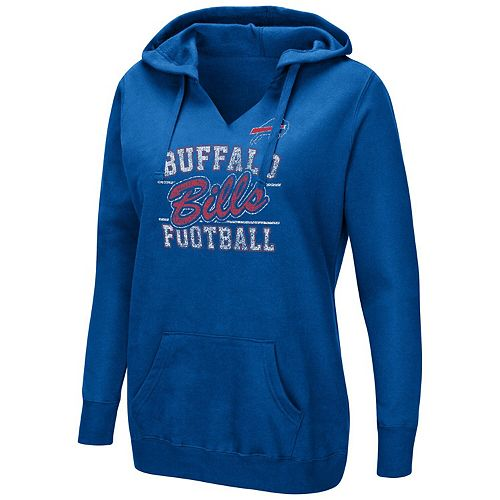 Women's Majestic Royal Buffalo Bills Quick Out Plus Size Pullover V-Neck Hoodie