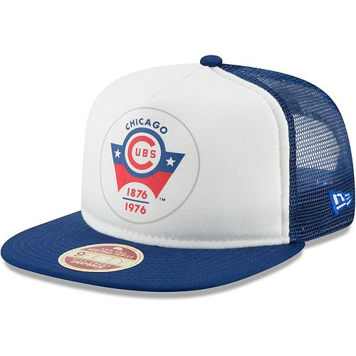 Men's New Era White/Royal Chicago Cubs Cooperstown Collection Foam Trucker 9FIFTY Snapback Adjustable Hat