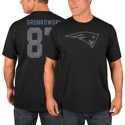 Men's Majestic Rob Gronkowski Black New England Patriots Primetime Player Name & Number T-Shirt