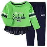 Girls Toddler Neon Green/College Navy Seattle Seahawks Mini Formation Set