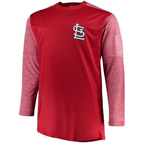Men's Majestic Red/Heathered Red St. Louis Cardinals Big & Tall On-Field Tech Fleece Sweatshirt