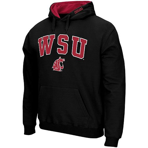 Men's Colosseum Black Washington State Cougars Arch & Logo Tackle Twill Pullover Hoodie
