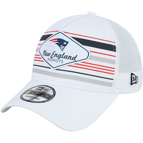 Men's New Era White New England Patriots Indo A-Frame 9FORTY Adjustable Trucker Hat