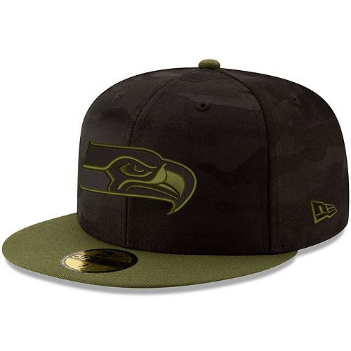 Men's New Era Black/Olive Seattle Seahawks Camo Royale 59FIFTY Fitted Hat