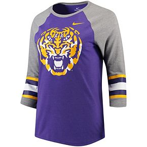 Women's Nike Heathered Purple LSU Tigers Sleeve Stripe Raglan 3/4 Sleeve Tri-Blend T-Shirt