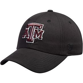 Men's Top of the World Black Texas A&M Aggies Primary Logo Staple Adjustable Hat
