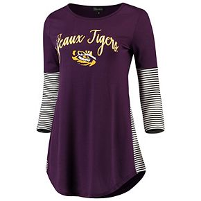 Women's Purple LSU Tigers Striking in Stripes Tunic Tri-Blend Shirt