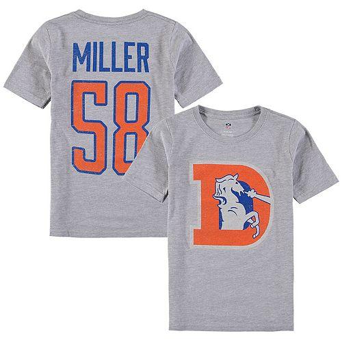 Youth Von Miller Heathered Gray Denver Broncos Vintage Distressed Name & Number T-Shirt