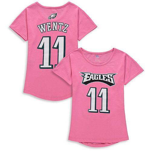 Girls Youth Carson Wentz Pink Philadelphia Eagles Dolman Mainliner Name & Number T-Shirt