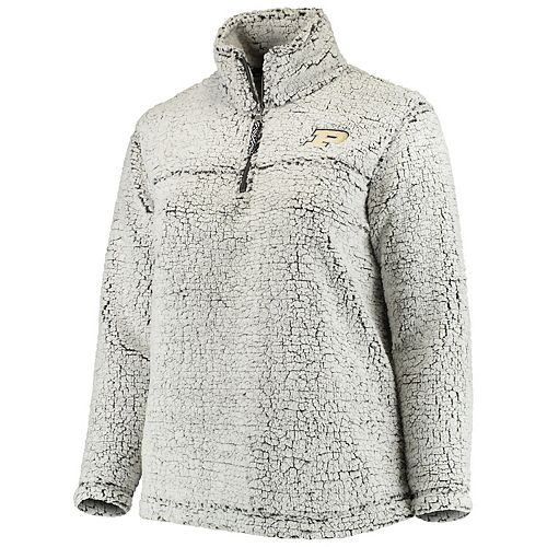 Women's Heathered Gray Purdue Boilermakers Plus Size Sherpa Quarter-Zip Pullover Jacket